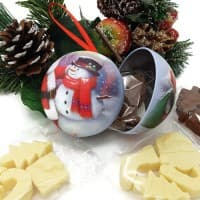 Santa and Snowman Chocolate filled Christmas Bauble