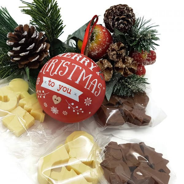Merry Christmas Chocolate filled Christmas Bauble