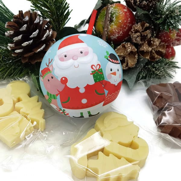Rudolf, Santa and Snowman Chocolate filled Christmas Bauble
