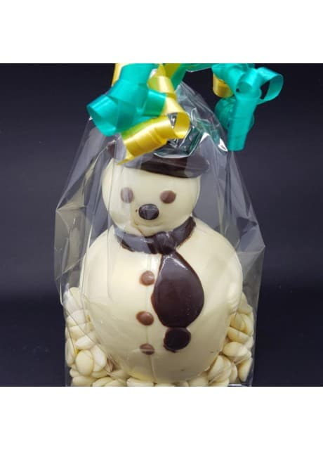 Chocolate Snowman with chocolate buttons