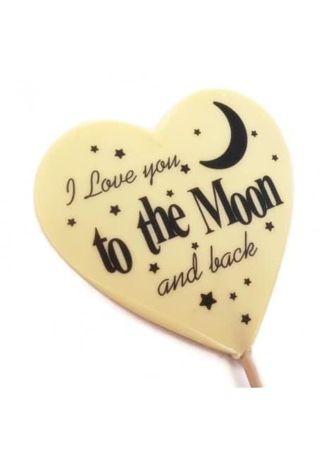 Large Love you to the Moon and Back White Belgian Chocolate Lolly